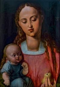 Albrecht Dürer, Vierge à l'enfant, la Vierge à la poire, huile sur bois, 1526, à la Galerie des Offices, les Uffizi à Florence en Italie