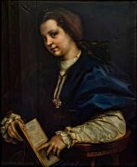 Andrea del Sarto, Jeune femme au Petrarchino, 1528, à la Galerie des Offices, les Uffizi à Florence en Italie