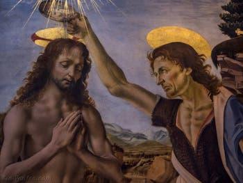Léonard de Vinci, Andrea del Verrocchio, Le Baptème du Christ, 1470-1475, Galerie Offices Uffizi, Florence Italie