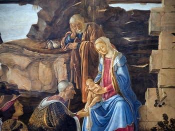 Botticelli, Adoration des Mages, Cosme l'Ancien de Médicis agenouillé devant l'Enfant Jésus, la Vierge Marie et Joseph, 1475-1477, Galerie Offices Uffizi, Florence Italie
