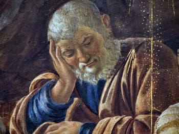 Botticelli, Joseph dans l'Adoration des Mages, 1475-1477, Galerie Offices Uffizi, Florence Italie