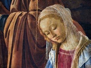la Vierge Marie dans l'Adoration des Mages de Botticelli, 1475-1477, Galerie Offices Uffizi, Florence Italie