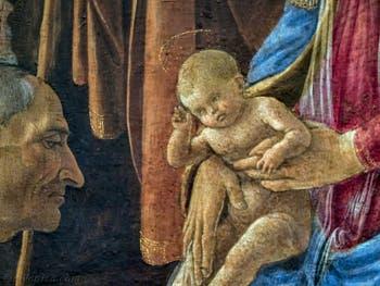 Botticelli, Cosme l'Ancien de Médicis et Jésus dans l'Adoration des Mages, 1475-1477, Galerie Offices Uffizi, Florence Italie