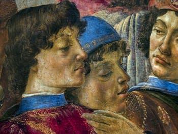 Botticelli, Laurent le Magnifique de Médicis et Ange Politien dans l'Adoration des Mages, 1475-1477, Galerie Offices Uffizi, Florence Italie