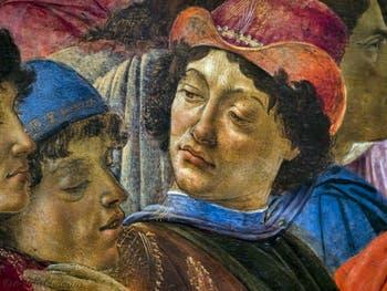Botticelli, Ange Politien et Pic de la Mirandole dans l'Adoration des Mages, 1475-1477, Galerie Offices Uffizi, Florence Italie