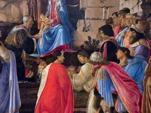 Botticelli, les trois Rois Mages de l'Adoration des Mages, 1475-1477, Galerie Offices Uffizi, Florence Italie