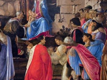 Botticelli, Cosme l'Ancien, Pierre et Julien de Médicis dans l'Adoration des Mages, 1475-1477, Galerie Offices Uffizi, Florence Italie