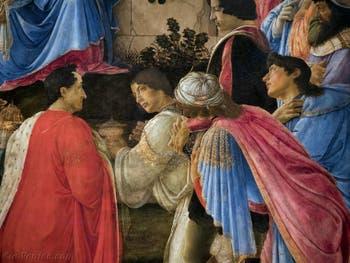 Botticelli, Pierre le Goutteux et Julien de Médicis dans l'Adoration des Mages, 1475-1477, Galerie Offices Uffizi, Florence Italie