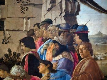Botticelli, Julien de Médicis et Botticelli dans l'Adoration des Mages, 1475-1477, Galerie Offices Uffizi, Florence Italie