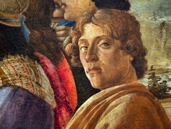 Autoportrait de Sandro Botticelli dans l'Adoration des Mages, 1475-1477, Galerie Offices Uffizi, Florence Italie