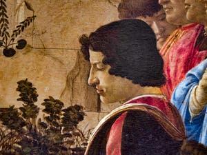 Botticelli, Giuliano de Médicis dans l'Adoration des Mages, 1475-1477, Galerie Offices Uffizi, Florence Italie