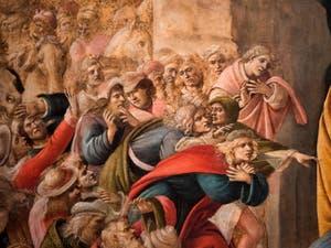 Botticelli, Savonarole et Laurent de Médicis le Magnifique dans l'Adoration des Mages 1490-1500, à la galerie des Offices, les Uffizi à Florence Italie