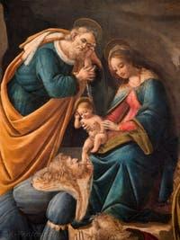 Botticelli, Jésus, la Vierge et Joseph ainsi que le premier roi mage agenouillé devant le Christ dans l'Adoration des Mages, 1490-1500, galerie des Offices, les Uffizi à Florence Italie