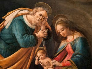 Botticelli, Joseph, l'Enfant Jésus et la Vierge Marie dans l'Adoration des Mages 1490-1500, à la galerie des Offices, les Uffizi à Florence Italie