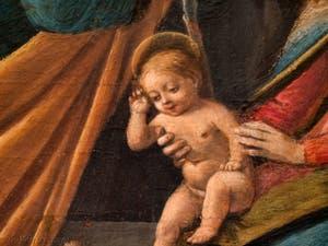 Botticelli, l'Enfant Jésus dans l'Adoration des Mages 1490-1500, à la galerie des Offices, les Uffizi à Florence Italie
