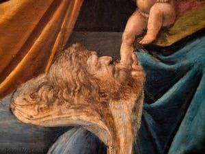 Botticelli, le premier roi mage agenouillé devant l'Enfant Jésus dans l'Adoration des Mages 1490-1500, à la galerie des Offices, les Uffizi à Florence Italie