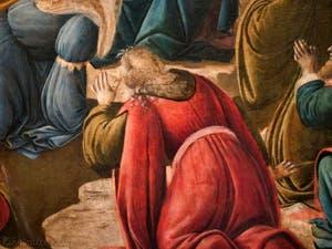 Botticelli, roi mage agenouillé  dans l'Adoration des Mages 1490-1500, à la galerie des Offices, les Uffizi à Florence Italie