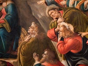 Botticelli, les rois mages agenouillés dans l'Adoration des Mages 1490-1500, à la galerie des Offices, les Uffizi à Florence Italie