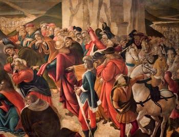 Botticelli, Léonard de Vinci dans l'Adoration des Mages 1490-1500, Galerie des Offices Uffizi Florence Italie