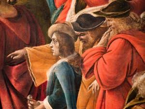 Botticelli, Léonard de Vinci dans l'Adoration des Mages 1490-1500, à la galerie des Offices, les Uffizi à Florence Italie