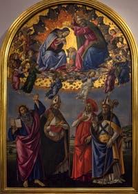 Sandro Botticelli, Couronnement de la Vierge, Saint-Jean-Evangéliste, Saint Augustin, Saint Jérôme et Saint Eloi, 1490, Galerie Offices Uffizi, Florence Italie
