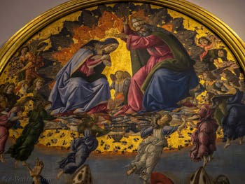 Sandro Botticelli, Couronnement de la Vierge, saint Jean Évangéliste, saint Augustin, saint Jérôme et saint Éloi, 1490, Galerie Offices Uffizi, Florence Italie