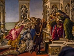 Sandro Botticelli, La Calomnie, 1495-1497, Galerie Offices Uffizi, Florence Italie