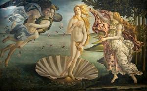 Sandro Botticelli, La Naissance de Vénus, 1484, Galerie Offices Uffizi, Florence Italie