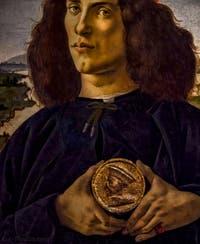 Sandro Botticelli, Portrait d'un jeune homme avec une médaille, 1475, Galerie Offices Uffizi, Florence Italie