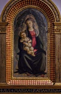 Sandro Botticelli, Vierge à l'Enfant en Gloire et Chérubins, 1469-1470, Galerie Offices Uffizi, Florence Italie
