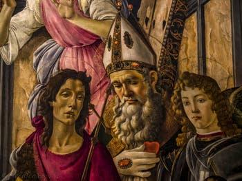 Sandro Botticelli, Vierge à l'Enfant et Saints, Catherine d'Alexandrie, Augustin, Barnabé, Jean évangéliste, Ignace d'Antioche et l'Archange Michel, Rétable de San Barnaba, 1487-1488, Galerie Offices Uffizi, Florence Italie