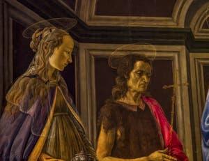 Sandro Botticelli, Vierge à l'Enfant et Saints, rétable de Sant'Ambrogio, saint Jean-Baptiste, saint François, sainte Catherine d'Alexandrie, saint Cosme et saint Damien, 1470, Galerie Offices Uffizi, Florence Italie