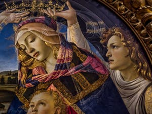 Sandro Botticelli, La Vierge du Magnificat, l'Enfant et cinq anges, 1483, Galerie Offices Uffizi, Florence Italie