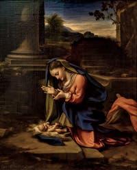 Correggio, La Vierge en adoration de l'enfant, 1524-1526, Galerie des Offices Uffizi à Florence en Italie