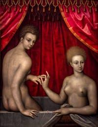 Ecole de Fontainebleau, Deux femmes au bain, dernier quart du XVIe siècle, Galerie Offices Uffizi, Florence Italie