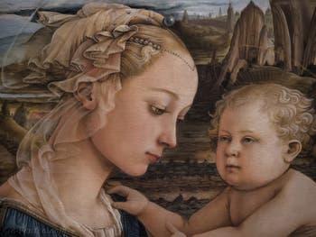 Filippo Lippi Vierge à l'enfant et deux anges 1465, galerie des Offices, les Uffizi à Florence