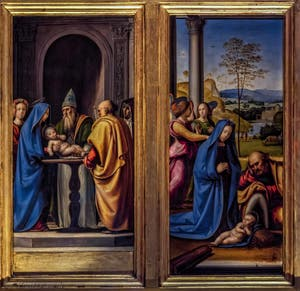 Fra Bartolomeo, Adoration de l'enfant, présentation de Jésus au temple, Annonciation, tabernacle del Pugliese, 1497, Galerie des Offices Uffizi à Florence en Italie