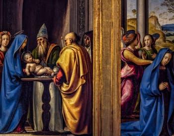 Fra Bartolomeo, Adoration de l'enfant, présentation de Jésus au temple, Annonciation, tabernacle del Pugliese, 1497, Galerie des Offices Uffizi à Florence en Italie