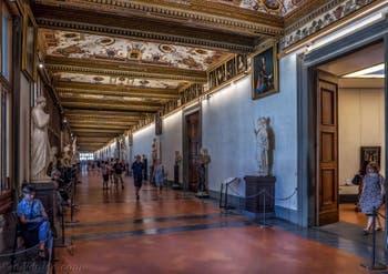 La Galerie des Offices, les Uffizi à Florence en Italie
