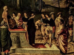 Giorgione, L'épreuve du feu de Moïse, 1496-1502, Galerie Offices Uffizi, Florence Italie