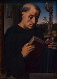 Hans Memling, Saint-Benoît, 1487, à la Galerie des Offices, les Uffizi à Florence en Italie