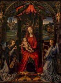 Hans Memling, Vierge à l'enfant en trône et anges musiciens, 1480, à la Galerie des Offices, les Uffizi à Florence en Italie