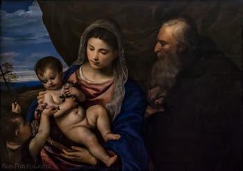 Le Titien, Vierge des roses avec l'Enfant Jésus, saint Jean enfant et saint Antoine abbé, 1520-1530, Galerie Offices Uffizi, Florence Italie