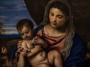 Le Titien, Vierge des roses avec l'Enfant Jésus, Saint-Jean enfant et Saint-Antoine abbé, 1520-1530, Galerie Offices Uffizi, Florence Italie