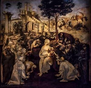 Léonard de Vinci, Adoration des Mages, 1481, Galerie Offices Uffizi, Florence Italie