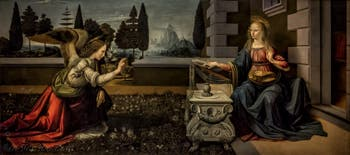 Léonard de Vinci, Annonciation, 1472, Galerie Offices Uffizi, Florence Italie