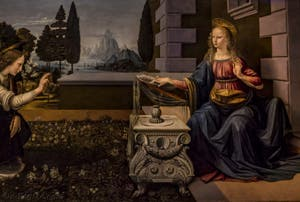 Léonard de Vinci, Annonciation, 1472, Galerie Offices Uffizi, Florence Italie
