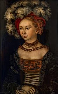 Lukas Cranach, Portrait de Femme, huile sur bois, 1530, à la Galerie des Offices, les Uffizi à Florence en Italie