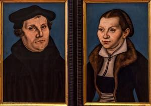 Lukas Cranach le Vieux, Portrait de Martin Luther et de son épouse Katharina Von Bora, 1529, à la Galerie des Offices, les Uffizi à Florence en Italie