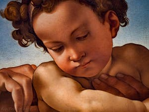 Michel-Ange Buonarroti, Sainte-Famille, l'Enfant Jésus du Tondo Doni, 1507, Galerie Offices Uffizi, Florence Italie